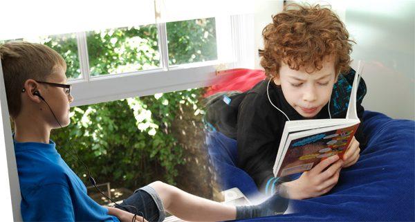 children listening to audiobooks