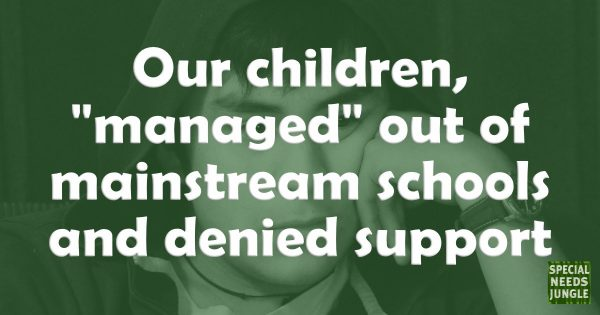 """Our children, """"managed"""" out of mainstream schools and denied support"""