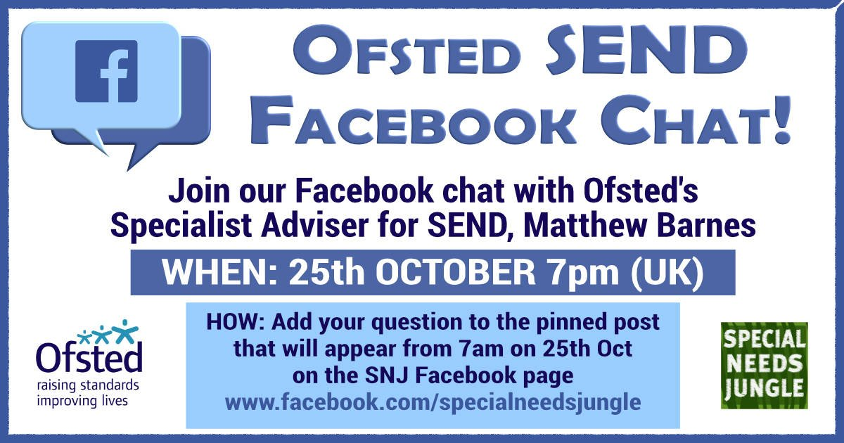 Ofsted chat on Facebook 25th October 2017, 7pm. SNJ Facebook page