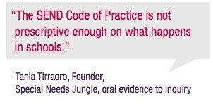 """The SEND Code of Practice is not prescriptive enough on what happens in schools."" Tania Tirraoro"