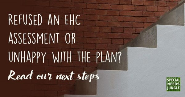 image of stairs with text: Refused an EHC assessment or unhappy with the plan? Read our next steps