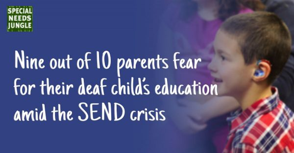 Boy with cochlear implant and title: 9 of 10 parents fear for their deaf child education amid SEND crisis