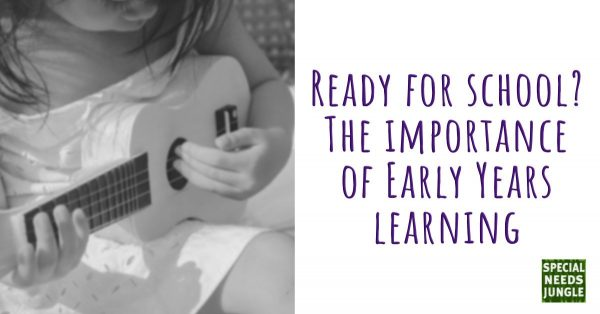 Picture of girl playing with a toy guitar and words: Ready for school? The importance of early years learning