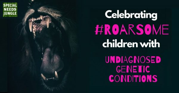Image of a roaring lion with the words of the article: celebrating #roarsome children with undiagnosed genetic conditions
