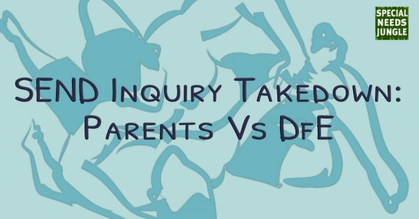 SEND inquiry takedown: Parents Vs DfE over background outline image in blue of wrestlers