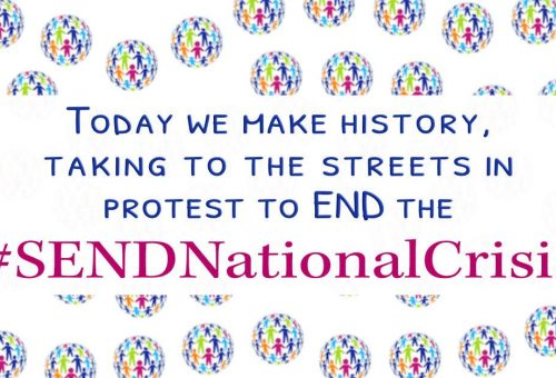 Today we make history, taking to the streets in protest to end the #SENDNationalCrisis