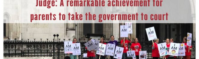 "Image of protestors with words: Judge: ""A remarkable achievement for parents to take the government to court"""