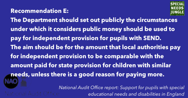 The Department should set out publicly the circumstances under which it considers public money should be used to pay for independent provision for pupils with SEND. The aim should be for the amount that local authorities pay for independent provision to be comparable with the amount paid for state provision for children with similar needs, unless there is a good reason for paying more.
