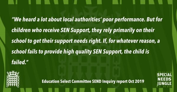"""We heard a lot about local authorities' poor performance. But for children who receive SEN Support, they rely primarily on their school to get their support needs right. If, for whatever reason, a school fails to provide high quality SEN Support, the child is failed."""