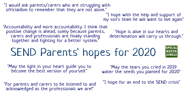SEND Parents' hopes for 2020, Accountability and more accountability. I think that positive change is ahead, solely because parents, carers and professionals are finally standing together and fighting for a better system