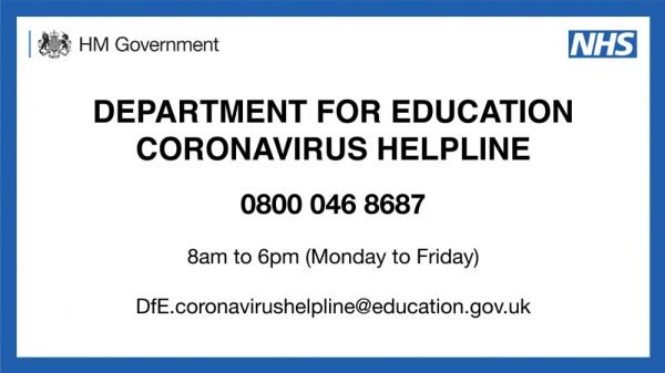 0800 046 8687 DfE Coronavirus helpline