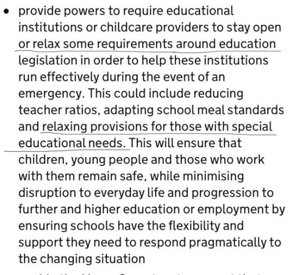 From proposed legislation about relaxing provision for children with SEND
