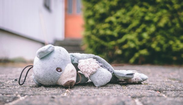 stuffed bunny lying on the ground outside