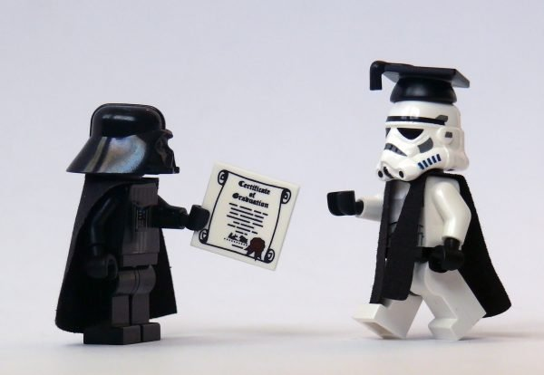 Earth Vader giving certificate to storm trooper