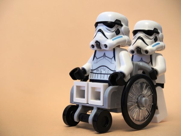 Lego storm trooper in wheelchair