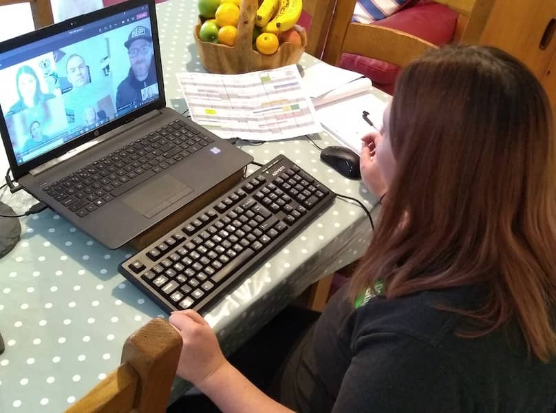 Hannah at her keyboard running the workshop